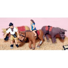 F193 3 Assorted Donkeys & Rider Unpainted Kit OO Scale 1:76