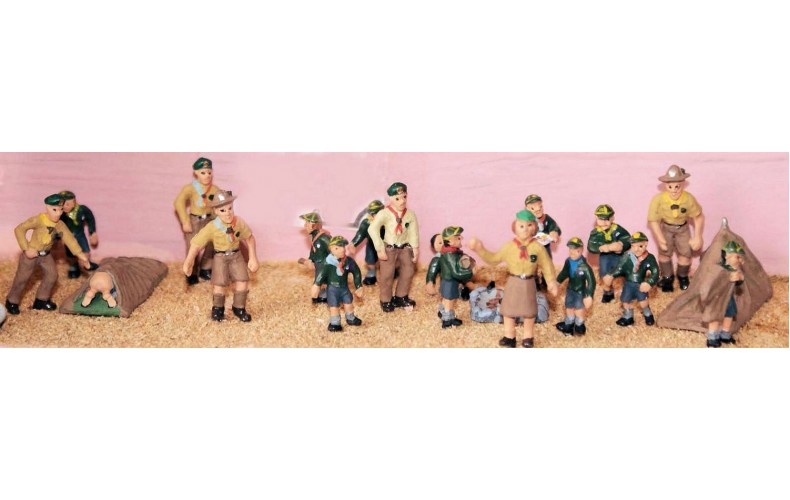 F195p Painted Cub Camp 1 tent & assorted 8 figures OO 1:76 Scale Model Kit
