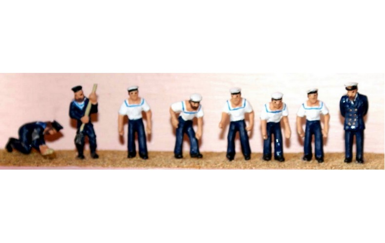 F198p Painted 8 Assorted Sailors OO 1:76 Scale Model Kit