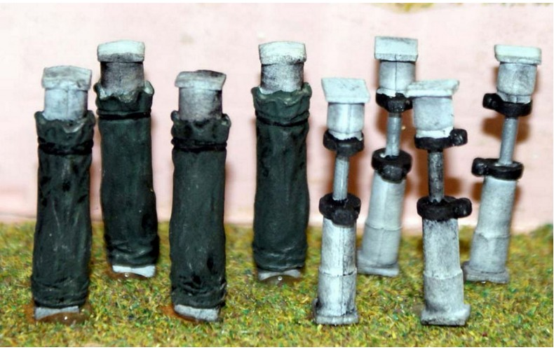 F211c 8 Hydraulic Pit Props in Use (4 covered 4 open) F211c Unpainted Kit OO Scale 1:76