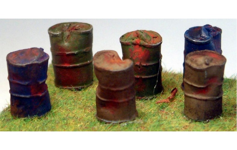 F218 6 x Dented/Crushed Oil Drums F218 Unpainted Kit OO Scale 1:76