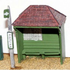 F21 Country Bus Shelter & bus stop F21 Unpainted Kit OO Scale 1:76