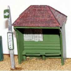 F21p Painted Rustic Bus Shelter and Stop OO Scale 1:76