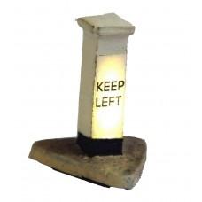 F222 Illuminated Kit 'Keep Left' Bollard  Unpainted Kit OO Scale 1:76