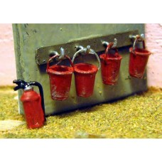 F232 Fire Bucket Rack and fire Extinguisher F232 Unpainted Kit OO Scale 1:76