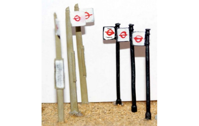 F23 3 concrete & 3 tubular bus stops F23 Unpainted Kit OO Scale 1:76