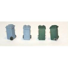 F240p Painted 'Wheelie' rubbish bins x 4 OO Scale 1:76