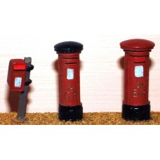 F24p Painted 3 Modern Pillar Boxes OO Scale 1:76