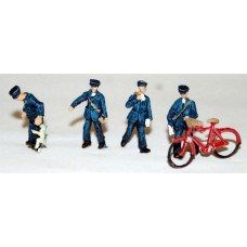 F250p Painted 4 x Postman & one Bicycle OO 1:76 Scale Model Kit