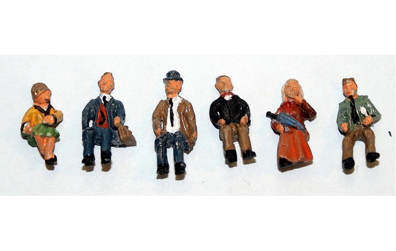 F254p Painted 6off Seated Passengers set 1 OO 1:76 Scale Model Kit
