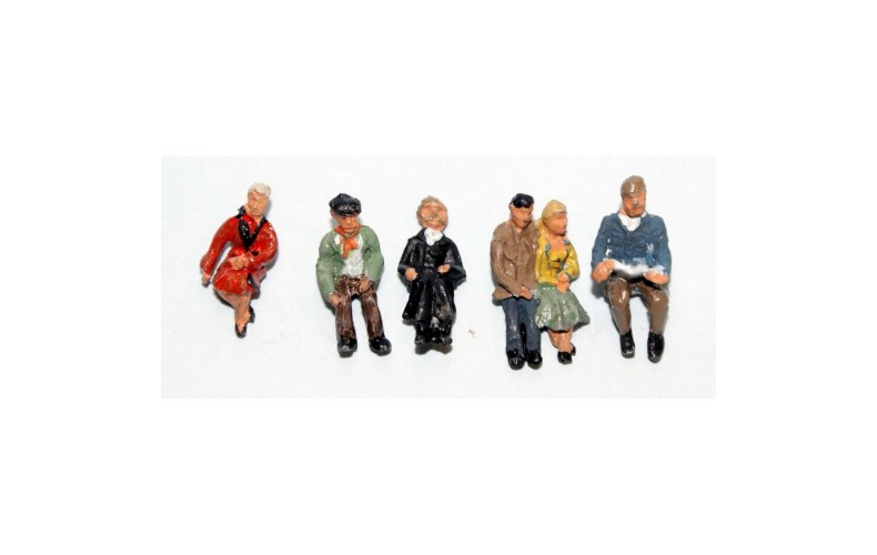 F256p Painted 6off Seated Passengers set 3 OO 1:76 Scale Model Kit