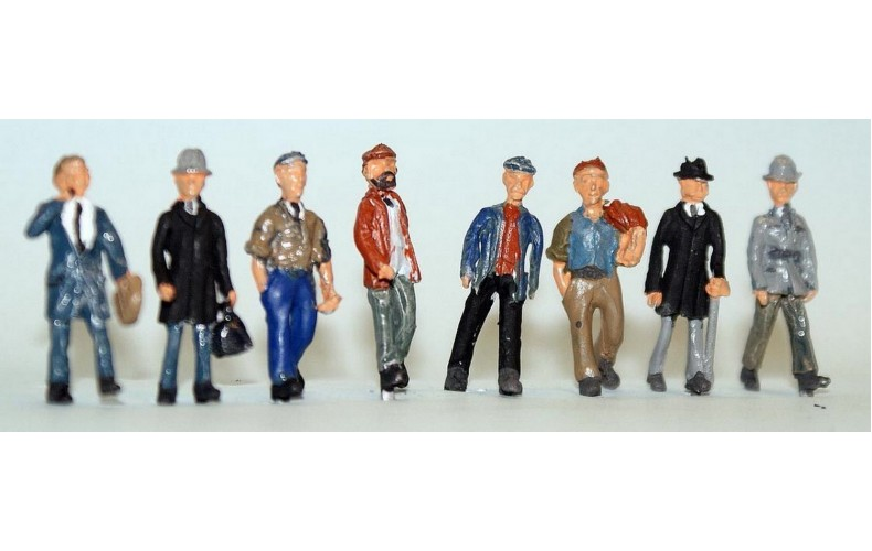 F258p Painted 8 x assorted Walking male figures OO 1:76 Scale Model Kit