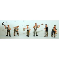 F264 6 ass Gravediggers. Pick, shovel and lamp holders Unpainted Kit OO Scale 1:76