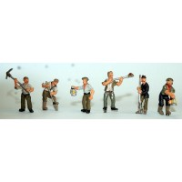 F264p Painted 6 x Gravediggers workers OO 1:76 Scale Model Kit