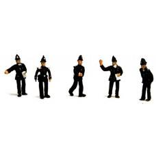 F281p Painted 5off Policemen /Traffic Bobbies. OO 1:76 Scale Model Kit