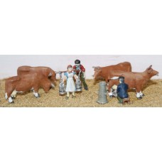 F30 Dairy Scene inc. Cows, Milkmaid etc Unpainted Kit OO Scale 1:76