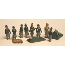 F313 Girl Guides in Camp (OO Scale 1/76th)