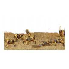 F34bp Painted Hunt Scene 6 Assorted Hounds OO 1:76 Scale Model Kit
