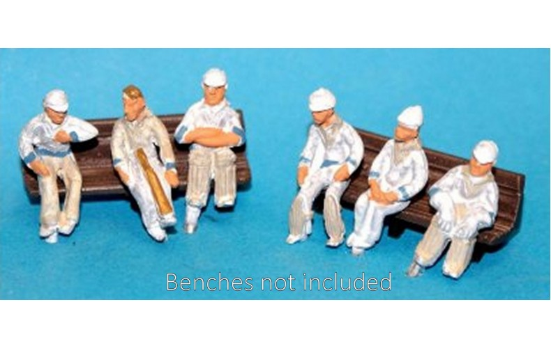 F35d NEW 6 seated Cricketers (waiting to play)  Unpainted Kit OO Scale 1:76