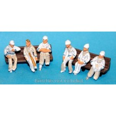 F35dp Painted 6 x Seated Cricket Figs waiting to play OO 1:76 Scale Model Kit