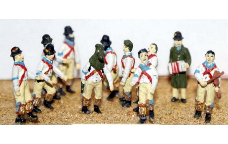 F36p Painted Morris Dancers OO 1:76 Scale Model Kit