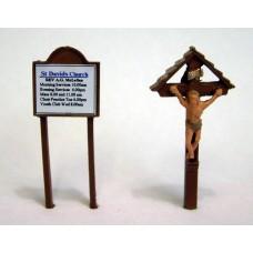 F41p Painted Church Notice Board & Crucifix OO Scale 1:76