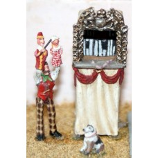 F55p Painted Punch & Judy Tent and Figures OO 1:76 Scale Model Kit