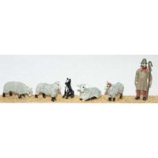 F58a Shepherd, dog & 4 assorted sheep Unpainted Kit OO Scale 1:76