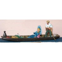F59 Punt with figures Unpainted Kit OO Scale 1:76