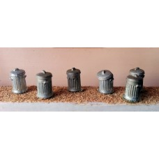 F62 6 x Dustbins F62 Unpainted Kit OO Scale 1:76