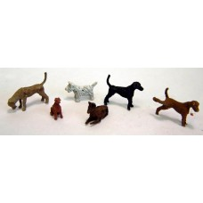 F66p Painted 6 Assorted Dogs OO Scale 1:76 Painted Model