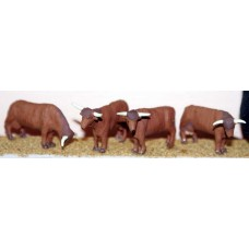 F68a 4 Highland Cattle various stances Unpainted Kit OO Scale 1:76
