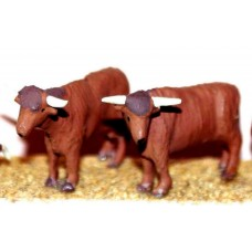 F68ap Painted 2 x Highland Cattle OO Scale 1:76 Painted Model