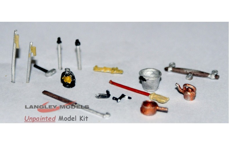 F6d Canalside accessories and tool Unpainted Kit OO Scale 1:76
