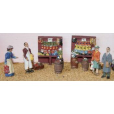 F75a Grocer shop fitting & figures Unpainted OO 1:76 Scale Model Kit