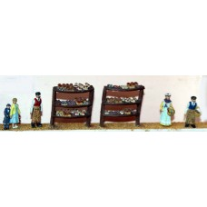 F75b Bakers shop fitting & figures Unpainted OO 1:76 Scale Model Kit