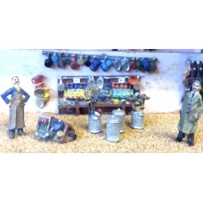 F75d Hardware shop fitting & figures Unpainted OO 1:76 Scale Model Kit