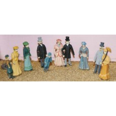 F8p Painted Vic/Edw Upper Class 10 figures OO 1:76 Scale Model Kit