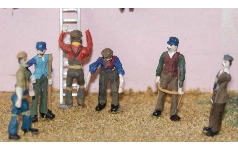F91p Painted 6 x working figures set 2 OO 1:76 Scale Model Kit