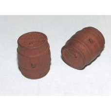 F93p Painted 2 Wooden Barrels Weathered OO Scale 1:76
