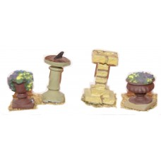 F98 Sundial, birdbath & 2 flower urns F98 Unpainted Kit OO Scale 1:76