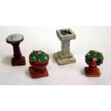 F98p Painted Sundial, bird bath and flower pots/urns OO Scale 1:76
