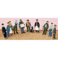 F9p Painted Vic/Edw Working Class 10 Figures OO 1:76 Scale Model Kit