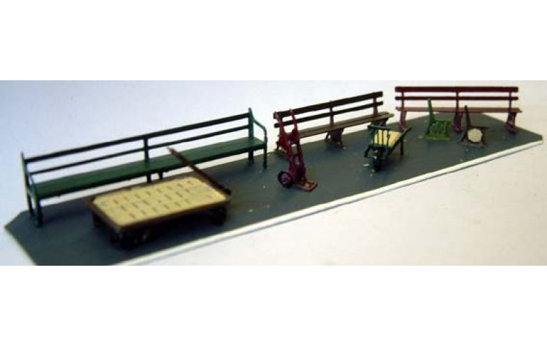 F129 G.W.R. Station seats & barrows F129 Unpainted Kit OO Scale 1:76