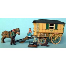 G16 Gypsy Caravan & camp fire Unpainted Kit OO Scale 1:76
