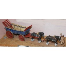 G26 Farm Cart, 2 shire horses & carter Unpainted Kit OO Scale 1:76