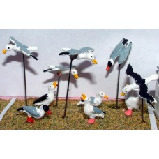 L28 10 Assorted Seagulls Unpainted Kit O Scale 1:43