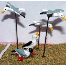 L28p Painted 5 x assorted Seagulls O Scale 1:43