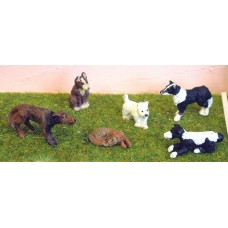 L30 6 Assorted Dogs Unpainted Kit O Scale 1:43