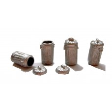 L32 4 Metal (corrugated) Dustbins and lids Unpainted Kit O Scale 1:43